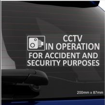 1 x CCTV In Operation for Accident and Security Purposes Window Sticker-200mmx87mm-Sign-Van,Taxi,Cab